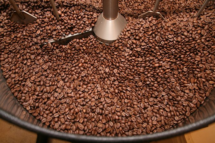 coffee beans in cooling tray